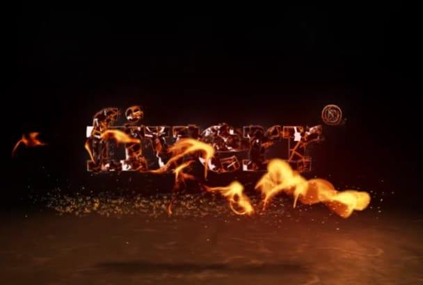 make FIRE burning logo intro