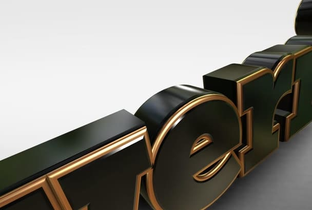 create a clean 3D extruded logo intro