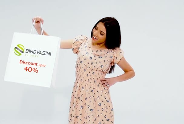 brand your logo through a hamper holded by a beautiful model
