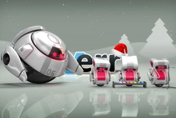 create Amazing robot Christmas video intro