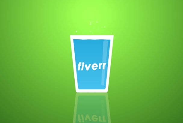 put your Logo or Name on a cartoony water filling up glass