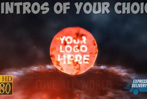 create 5 AMAZING intro animation of your choice from 30 templates