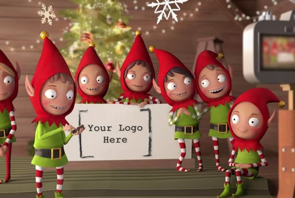 customise this amazing Elf Holiday Card for your business