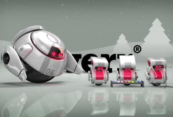 create a Robot Christmas intro logo video