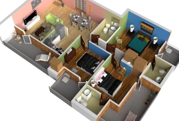 create 3D floor plan by SketchUp in 5 hours