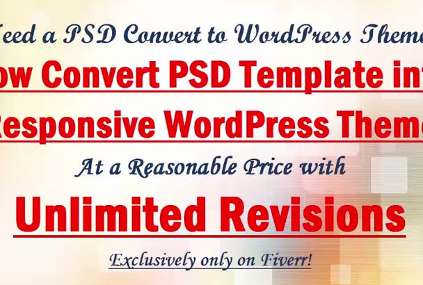 convert PSD to WordPress theme with responsive