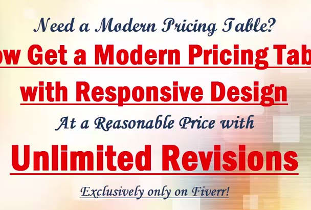 design a modern pricing table with responsive