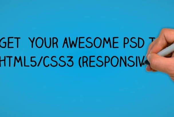 convert PSD to Responsive HTML5, CSS3, Wordpress Theme