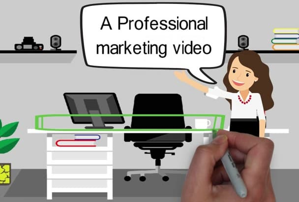 create a professional HD whiteboard video in Hebrew or English