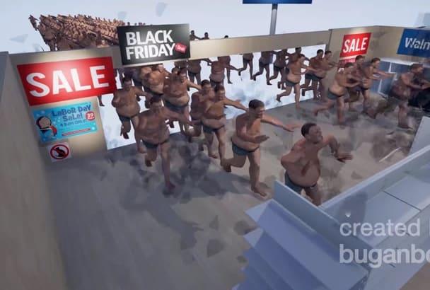 create an unusual 3D animated video