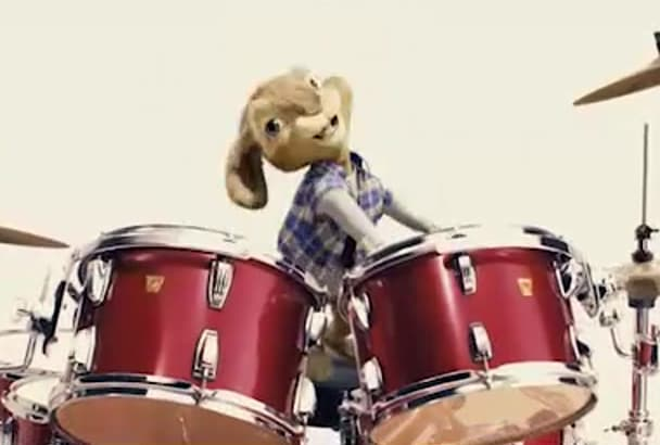 add your text and logo in this funny bunny playing drums