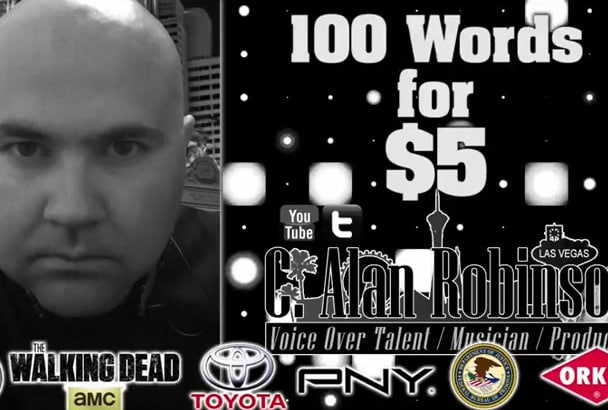record a Pro American Male 100 Word Narration VOICEOVER