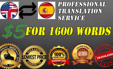 translate up to 1600 words from english to spanish in 24hrs