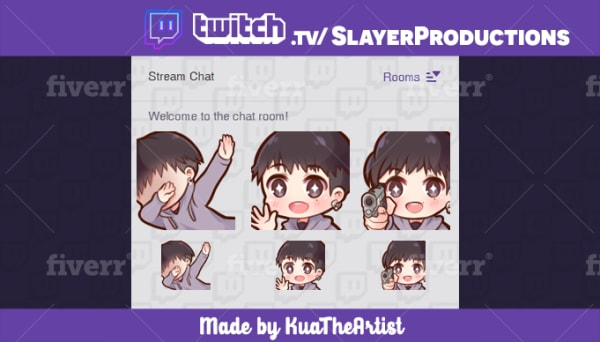 draw cute custom twitch emotes, stickers