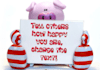 create a picture for you of a Happy Pig with a message of your choice placed on the sign