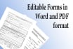 create any editable form in word and pdf