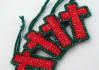 send 4 handcrafted red and green Christmas cross ornaments