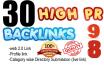 create 30 high pr backlink excellent for your website