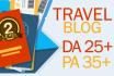 add guest post on quality travel blog da 25