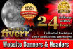 design Headers, Banners, Fb, Youtube covers within 24 hours