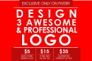 design 3 AWESOME and Professional logo for your business