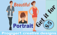 design a beautiful PORTRAIT , caricature, cartoon
