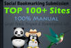 do manual social bookmarking on top 100 sites