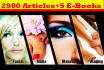 give 2900 PLR Articles on Fashion and Beauty with EBooks