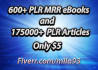 provide 175k plr articles and 600 plr, mrr ebooks