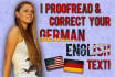 proofread and correct your GERMAN English text