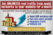 drive UNLIMITED real traffic from social networks to your website for a month