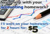 help you with your accounting homework for 2 hours