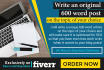 write an original 600 word post on the topic of your choice