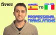 translate Any 300 Word Spanish Text Into Italian