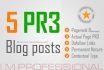 5 PR3 blog posts guest posts links for seo