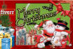 create a attractive x mas Card,FB Cover or Header