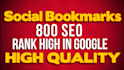 800 SEO Social High Quality Bookmarks