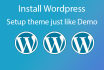 install wordpress exact as demo site