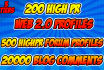 run a campain with Web 2 0 profiles and dofollow forum profiles Buy now