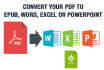 convert PDF to ePub, Word, Excel and Powerpoint