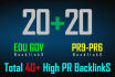 create 40 High Pr,Seo backlinks with 20 EDU gov