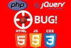 fix any html,css, javascript, jquery errors,bugs or issues