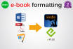 format and covert your document to kindle ebook, PDF book fixed layout