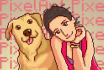 draw portrait you and your pet in pixel art retro style