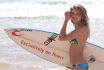 display your logo on surfboard that hold sexy lady