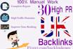 manually do 30 high pr UK seo backlinks