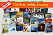 600 eBooks on various niches with mrr plr