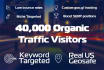 deliver 40 000 organic genuine traffic visitors
