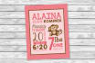 customize this monkey baby girl announcement for you