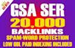 build 20,000 GSA backlinks for your Website